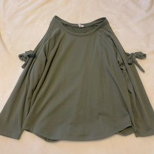 Army Green Cold Shoulder Sweater